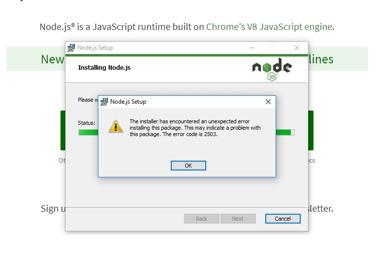 When trying to install Node js I get two error messages
