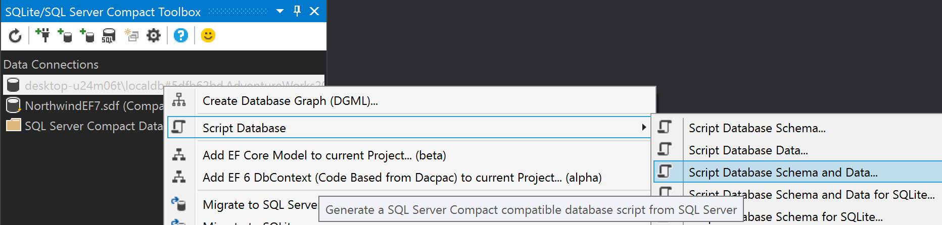 Migrate a sql server database to sql server compact or sqlite then connect to a new or existing sql compact or sqlite database file ccuart Image collections