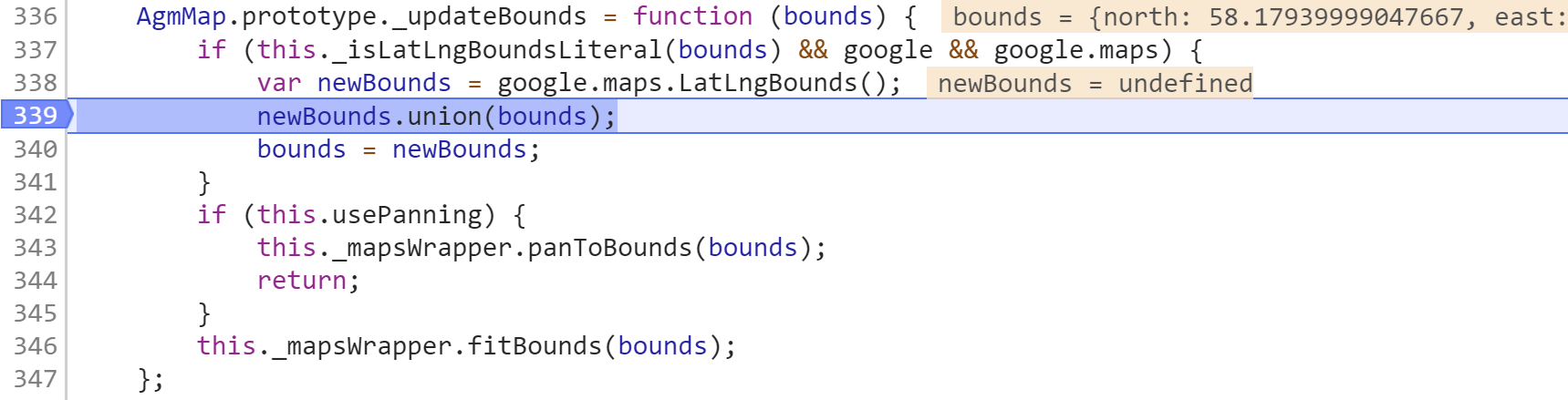 Reference error when using fitBounds with
