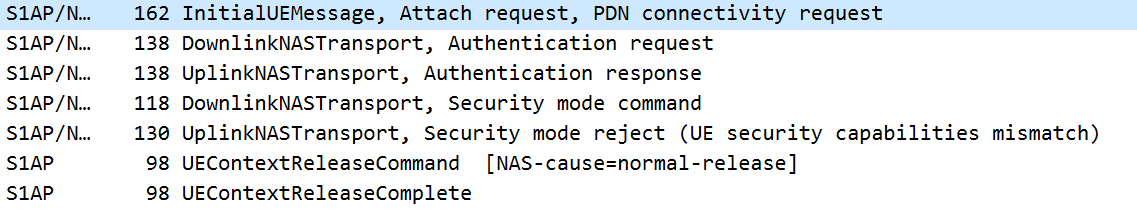 Security mode reject (UE security capabilities mismatch) · Issue #27
