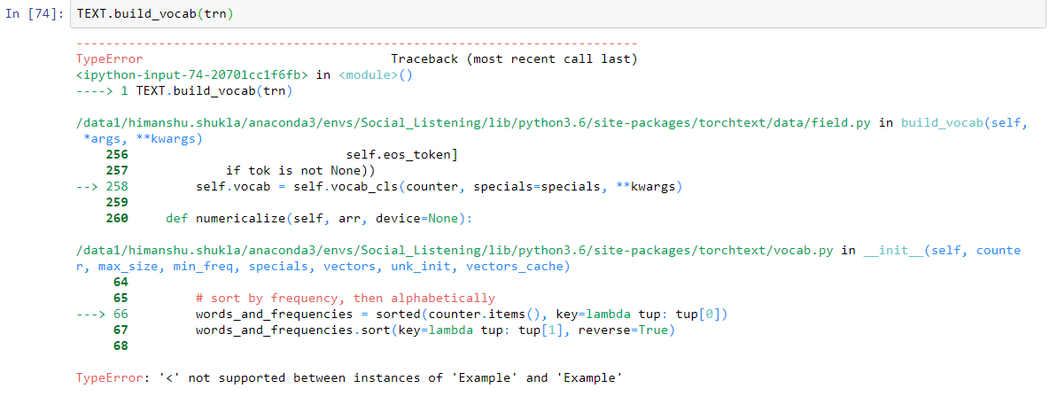 Error when trying to build vocab (TEXT build_vocab(trn