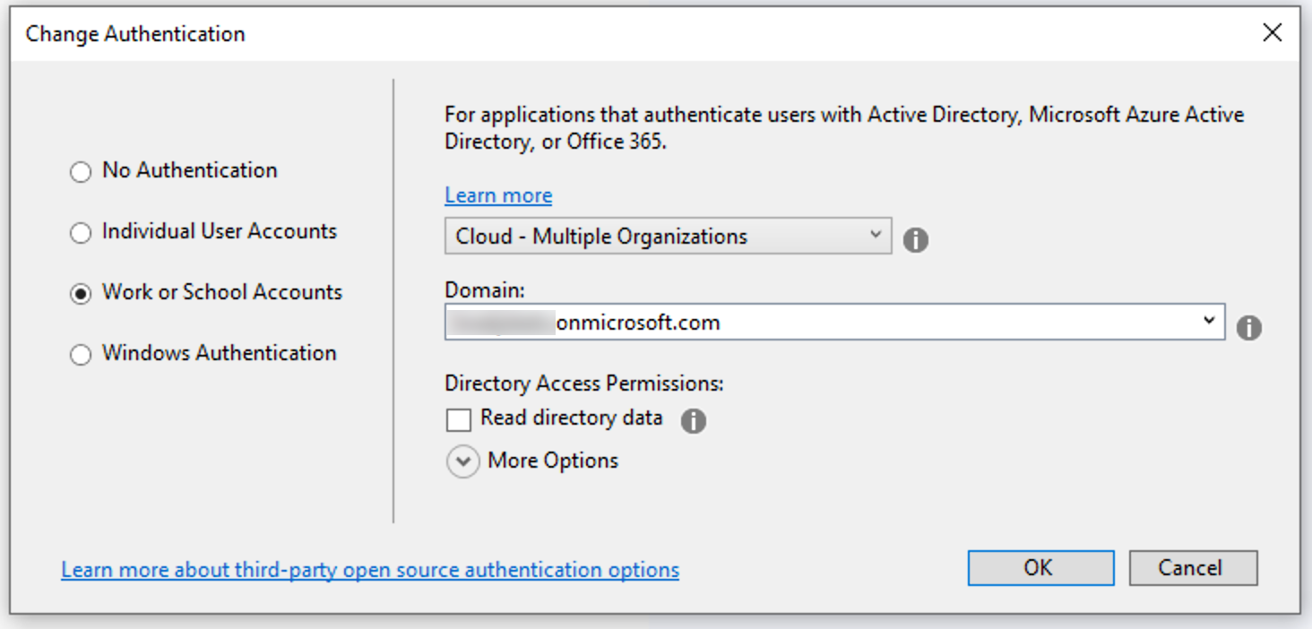 The Visual Studio add authentication dialog.