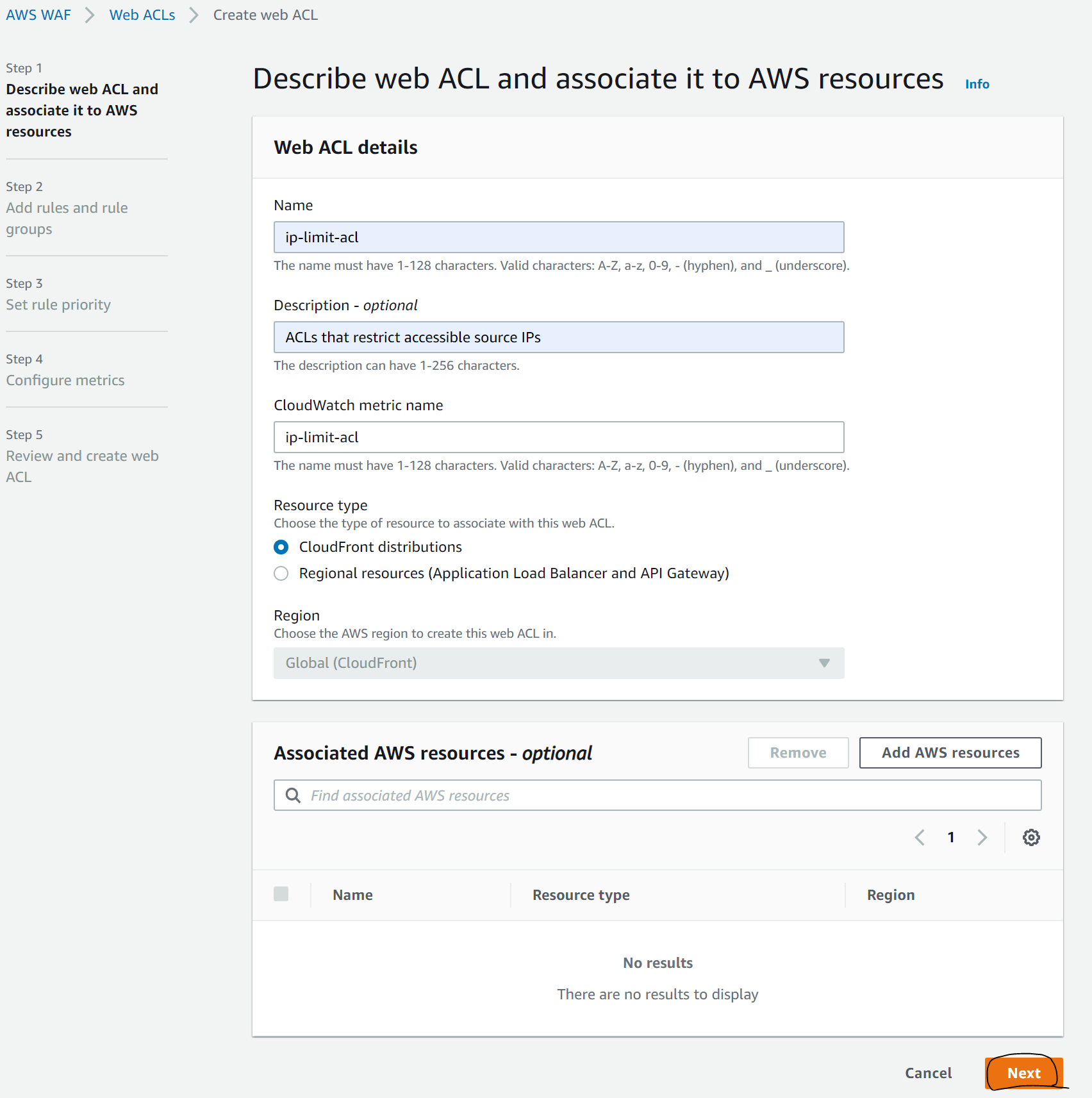 Describe web ACL and associate it to AWS resources