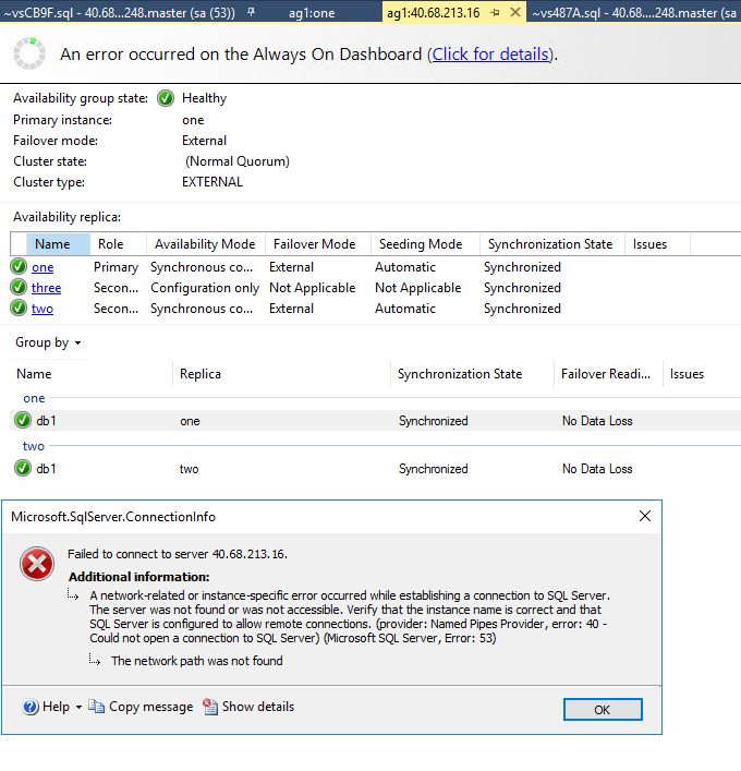 Availability group dashboard stuck on healty state · Issue