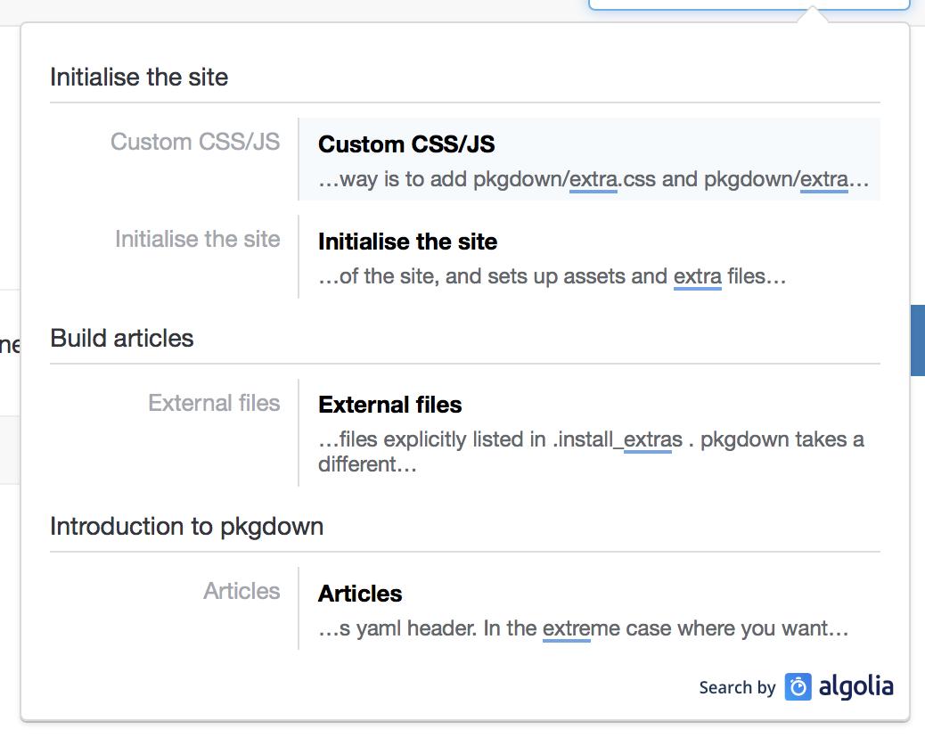 docsearch config consistency issue 608 r lib pkgdown github