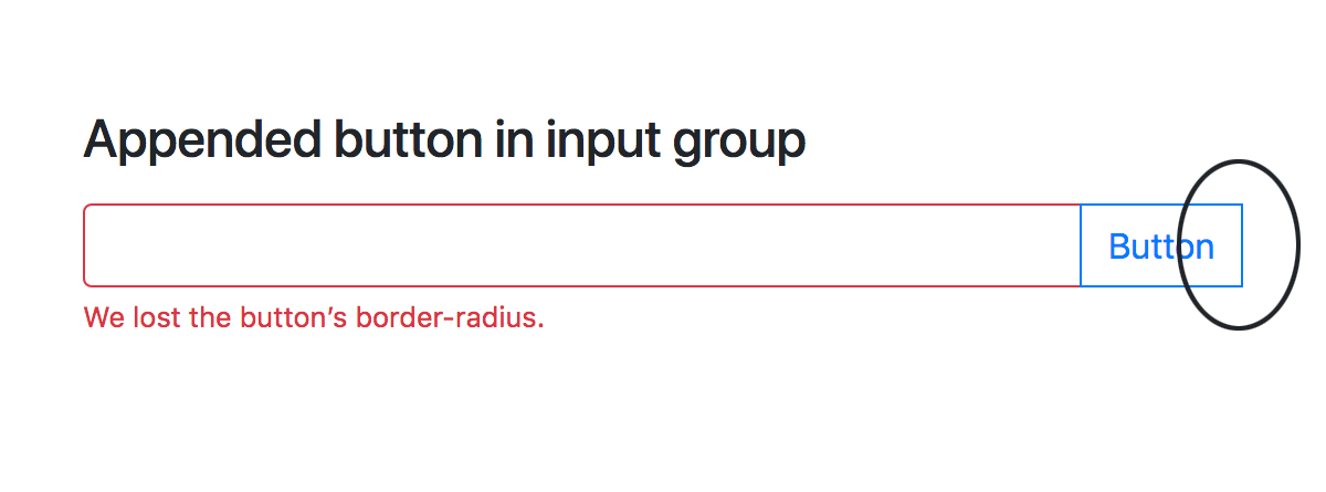 Missing border radius on input group with validation
