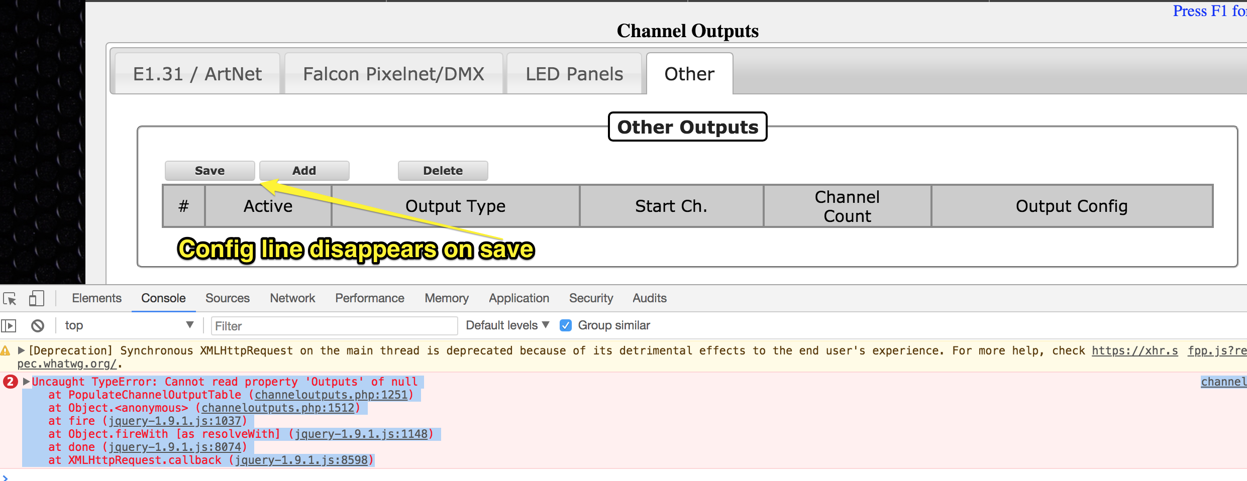 Cannot save \u0027other\u0027 output channel due to javascript error · Issue