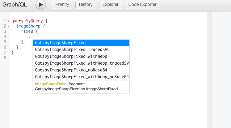 Screenshot showing the GraphiQL IDE with the fragments in auto-completion