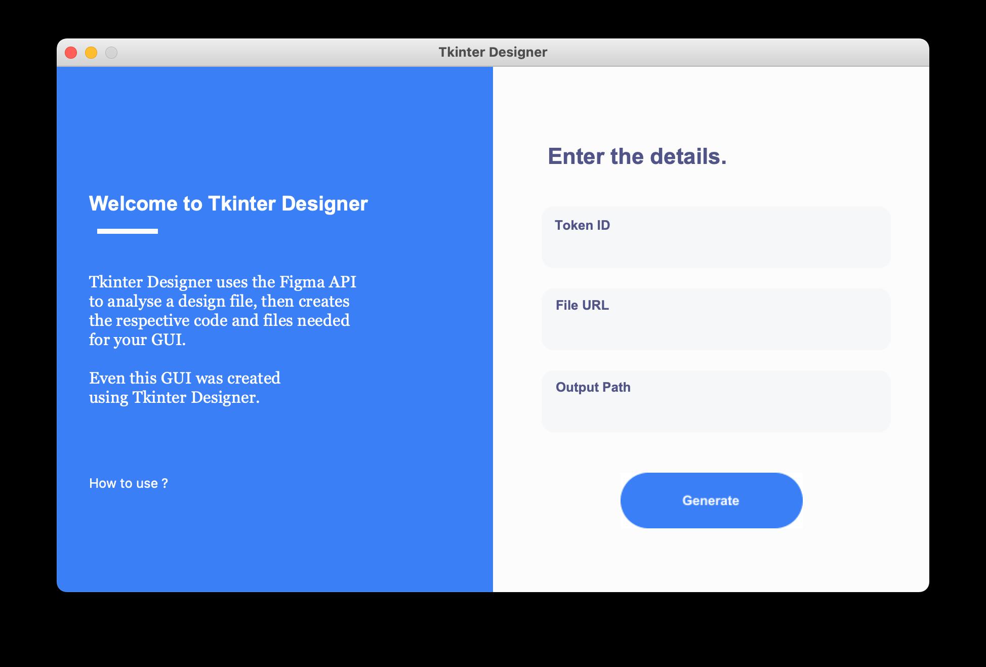 Tkinter Designer GUI