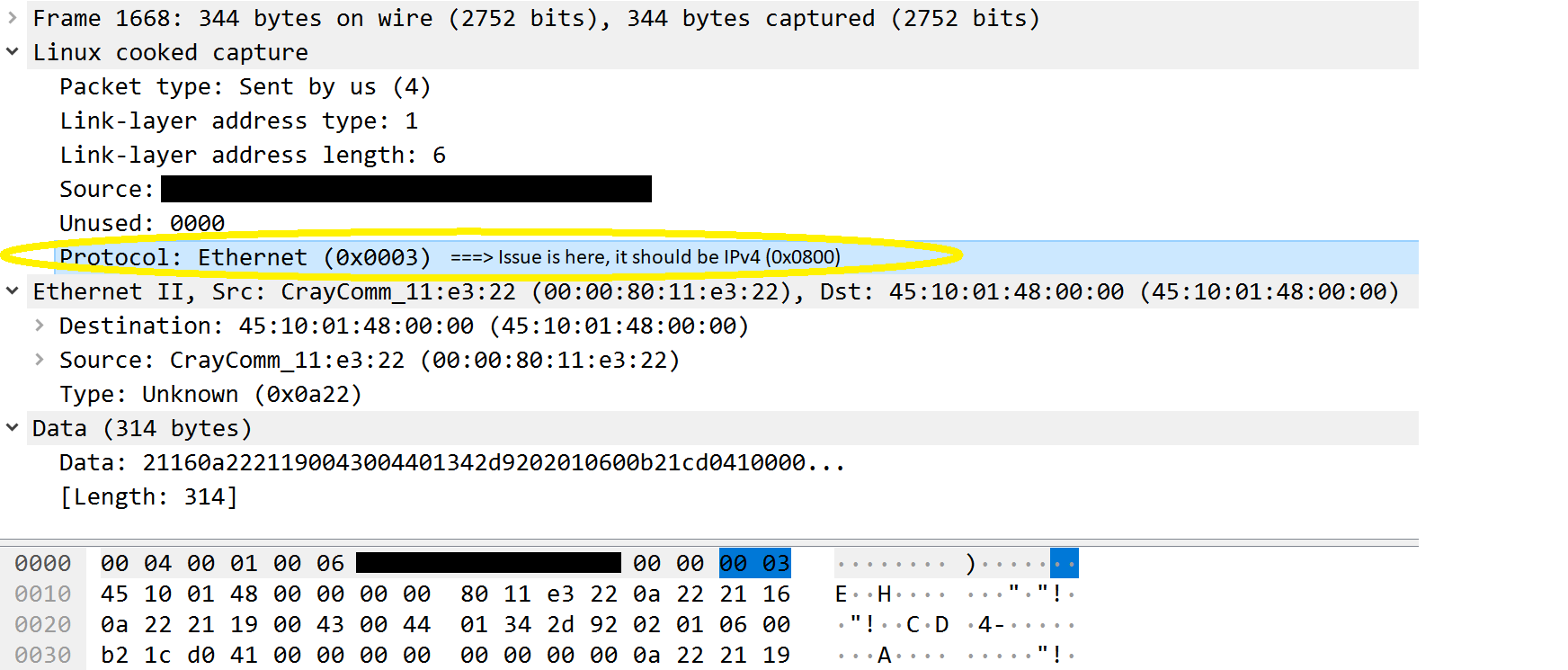"""Linux cooked capture (""""tcpdump -i any"""") mode shows protocol"""