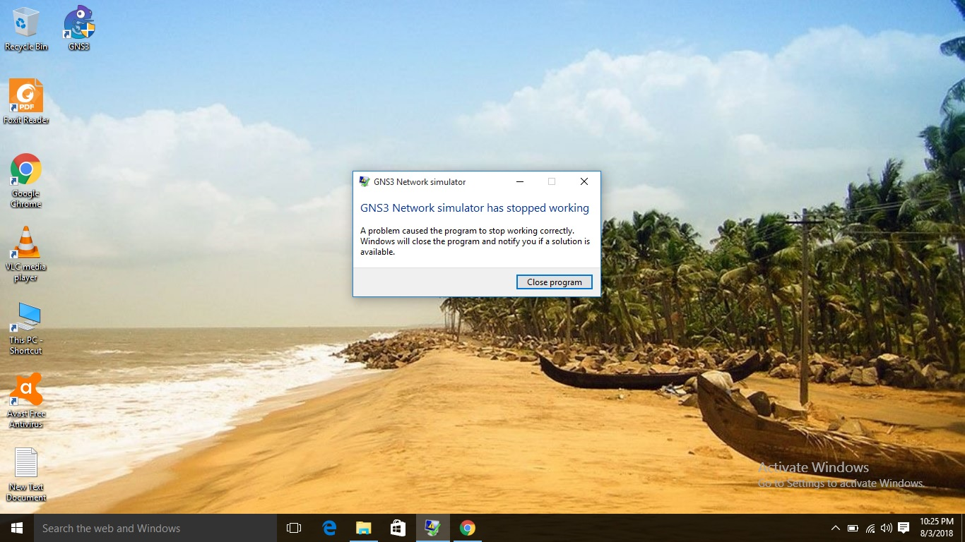 GNS3 not working and not opening in Windows 10 · Issue #2558