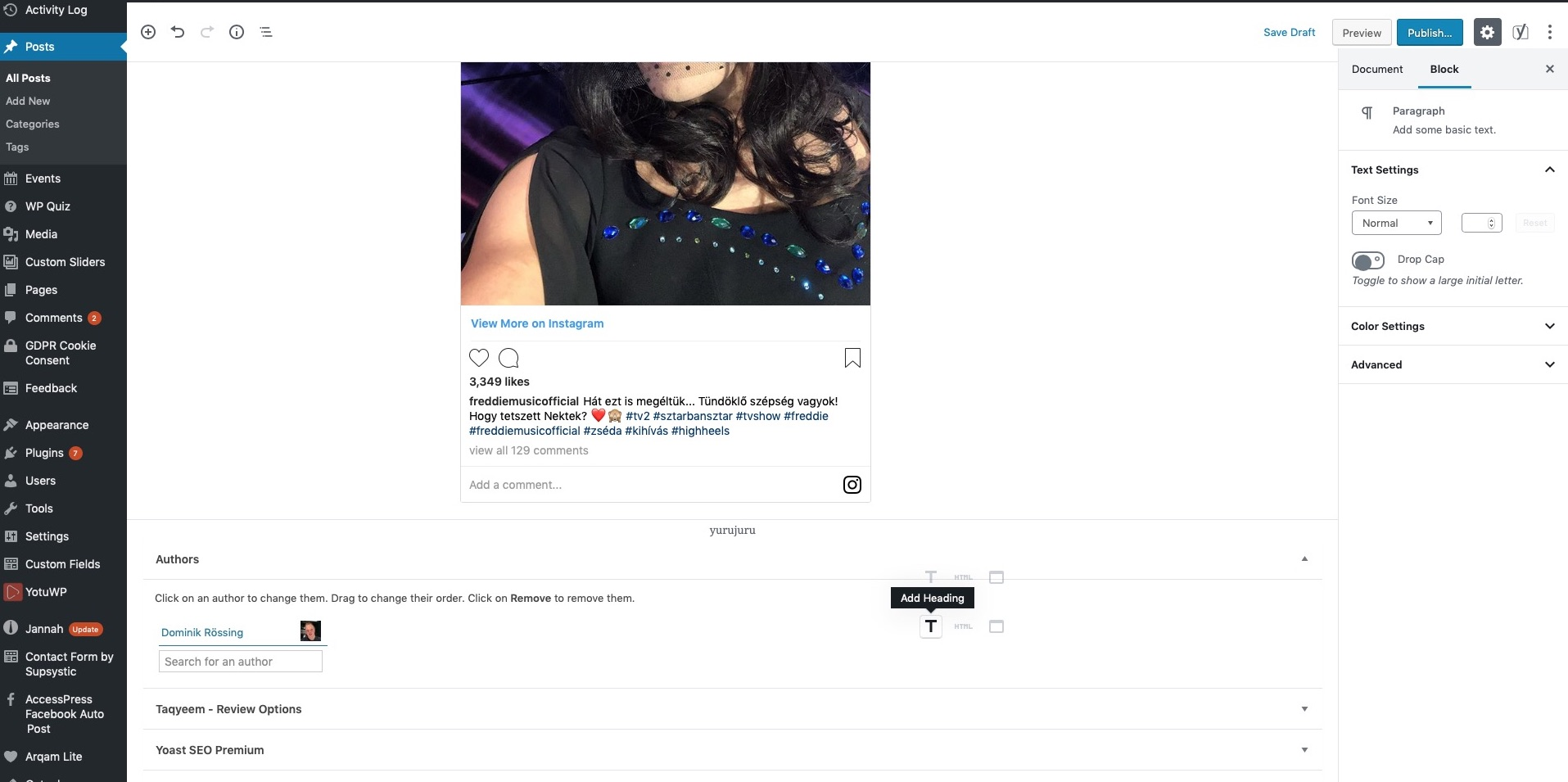 CSS Issues in editor when embedding Instagram · Issue #11337