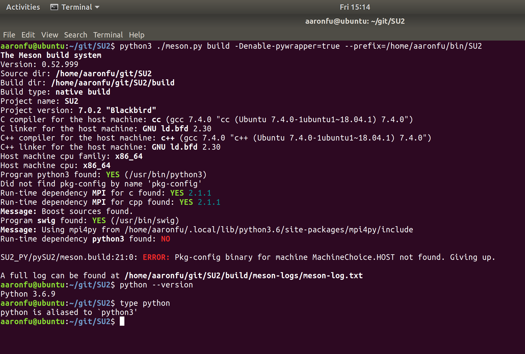 Meson Build on Linux with Python Wrapper python20 not found ...