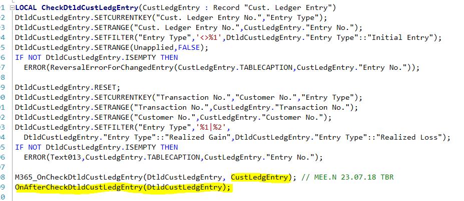 Event Enhancement] Table 179 Function CheckDtldCustLedgEntry