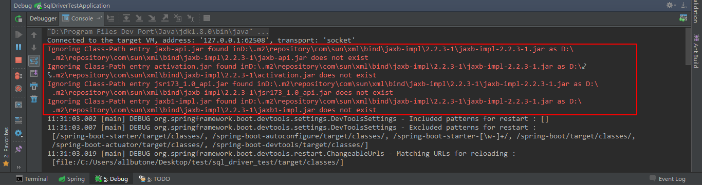 activation.jar which is referenced by the classpath does not exist