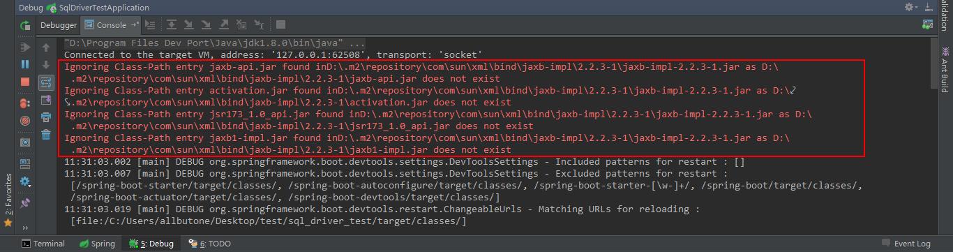 spring-boot-devtools outputs error message \