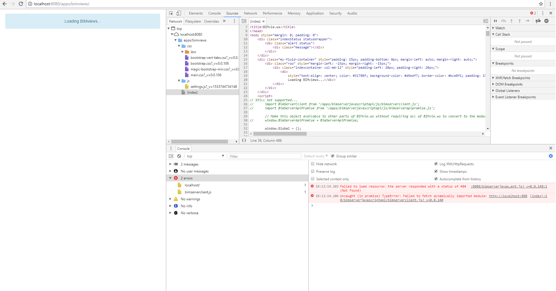 BIMviews not loading on localhost [Eclipse debug] · Issue