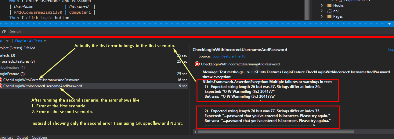 NUnit Framework AssertionException: shows previous scenario