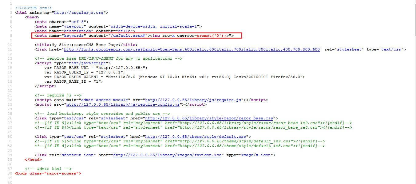 Stored Cross site Scripting (XSS) found  · Issue #51