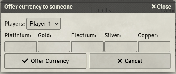 dialog currency