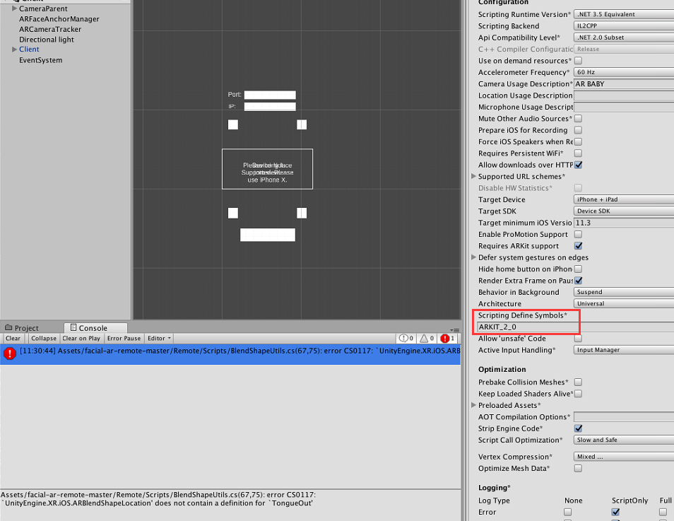 Scripting Define Symbols* ARKIT_2_0 · Issue #2 · Unity
