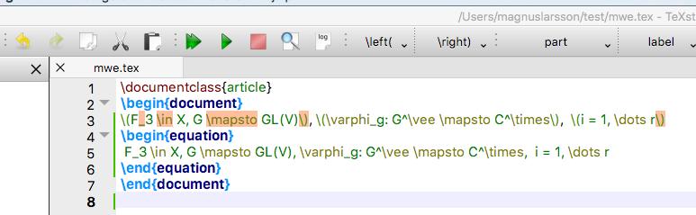 Latex commands marked 'math command outside math envirioment