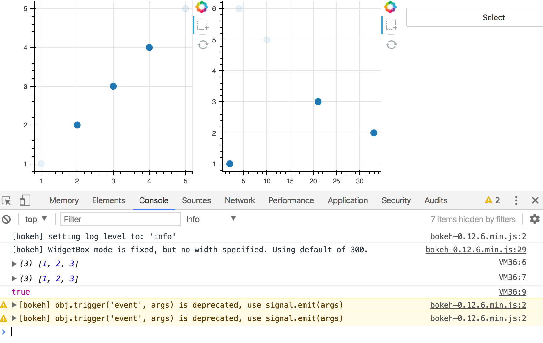 Pre-selection on rows in a Bokeh DataTable fails to display
