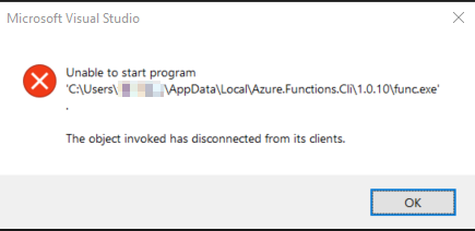 The object invoked has disconnected from its clients (func.exe