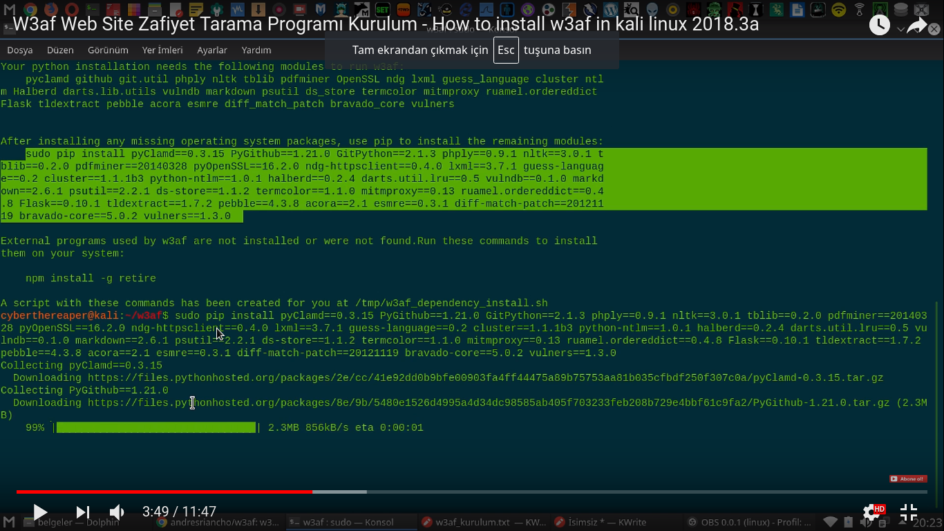 I can record installation video for kali linux · Issue