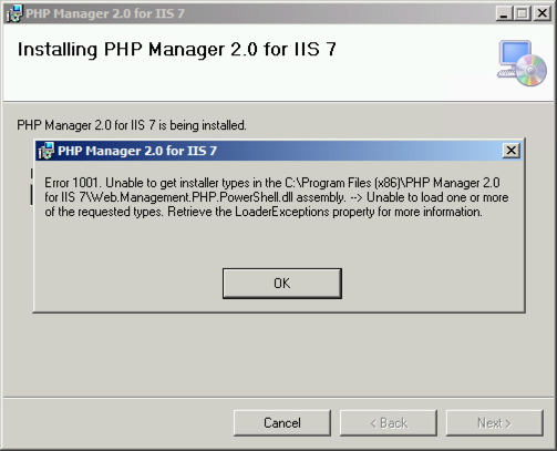 Installatioin failed due to Web Management PHP PowerShell