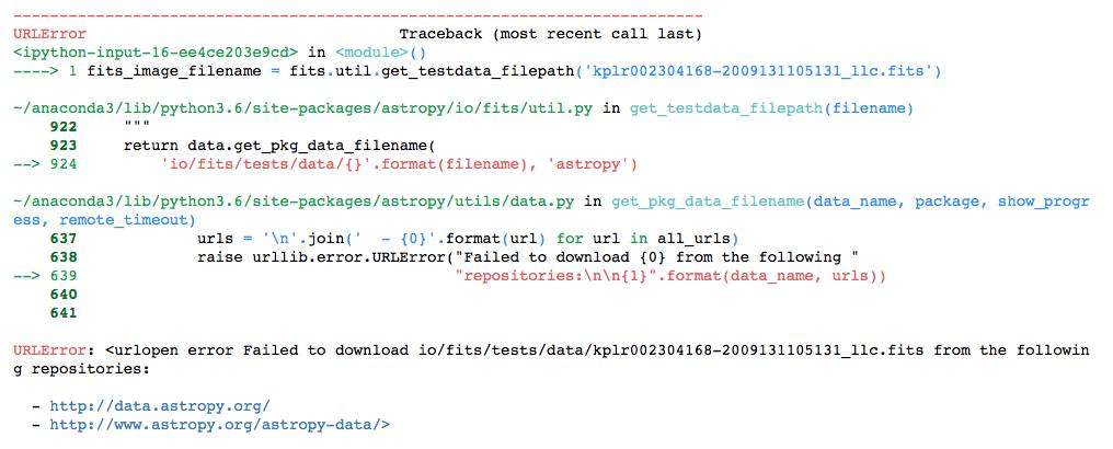 URLopen error failed to download  (Astropy, Kepler Data