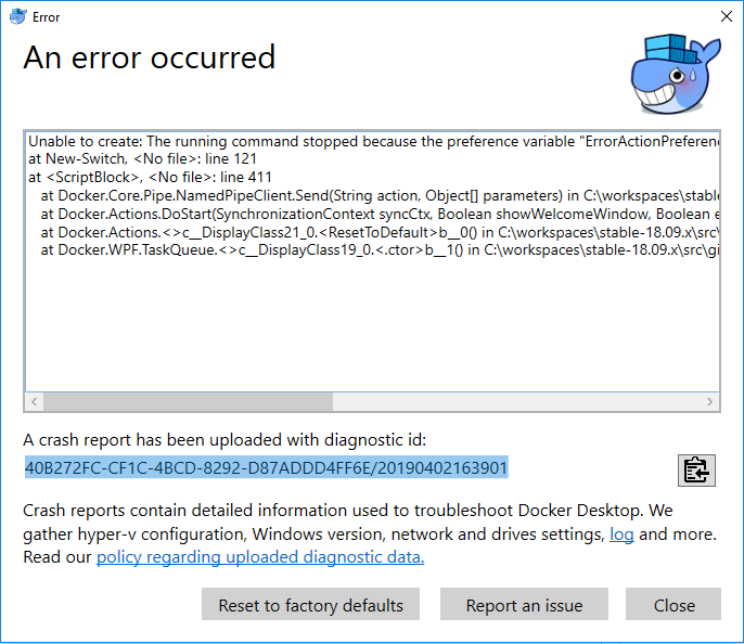 Docker Error while doing factory reset on windows 10  · Issue #3675