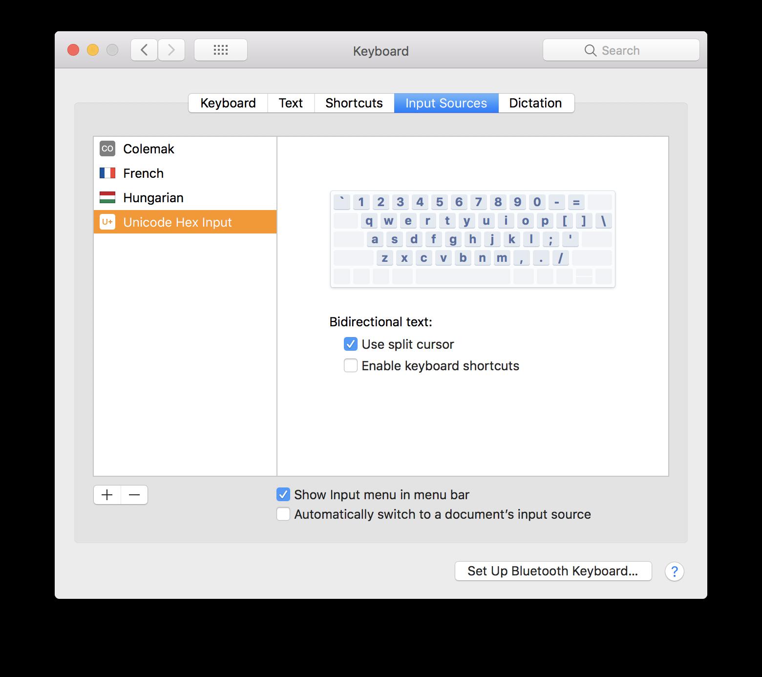 macOS keyboard input setting