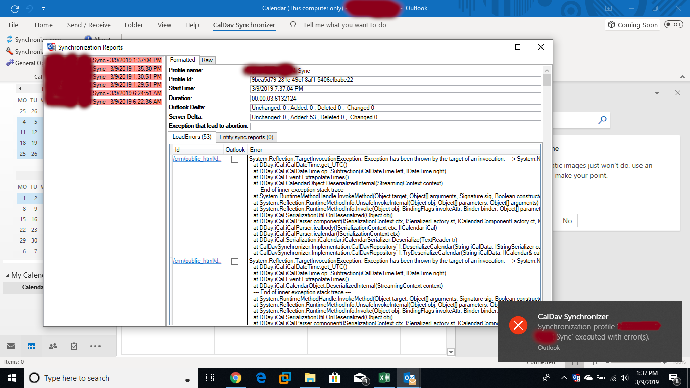 bug] CalDav Sync will not work with Outlook · Issue #9859