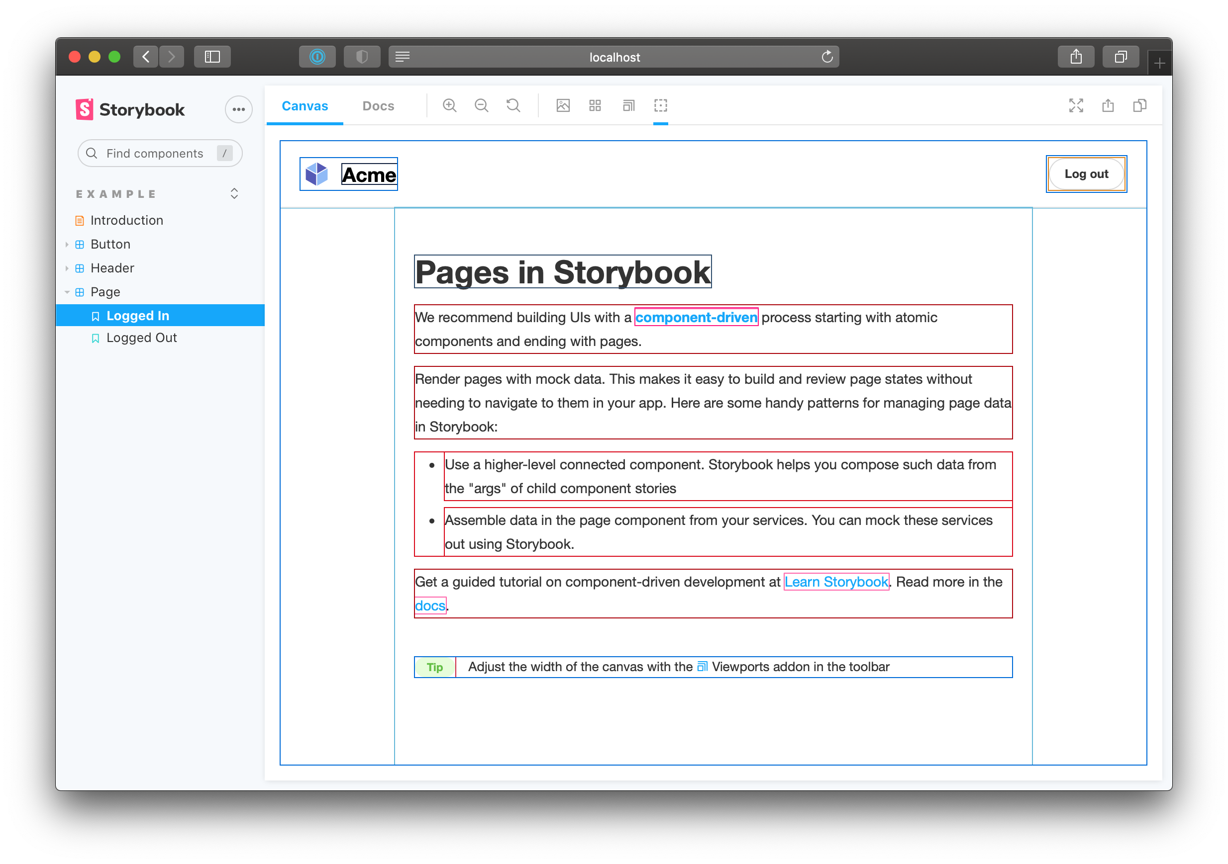 React Storybook Screenshot