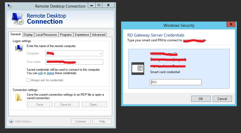 Remote desktop gateway smartcard authentication issue