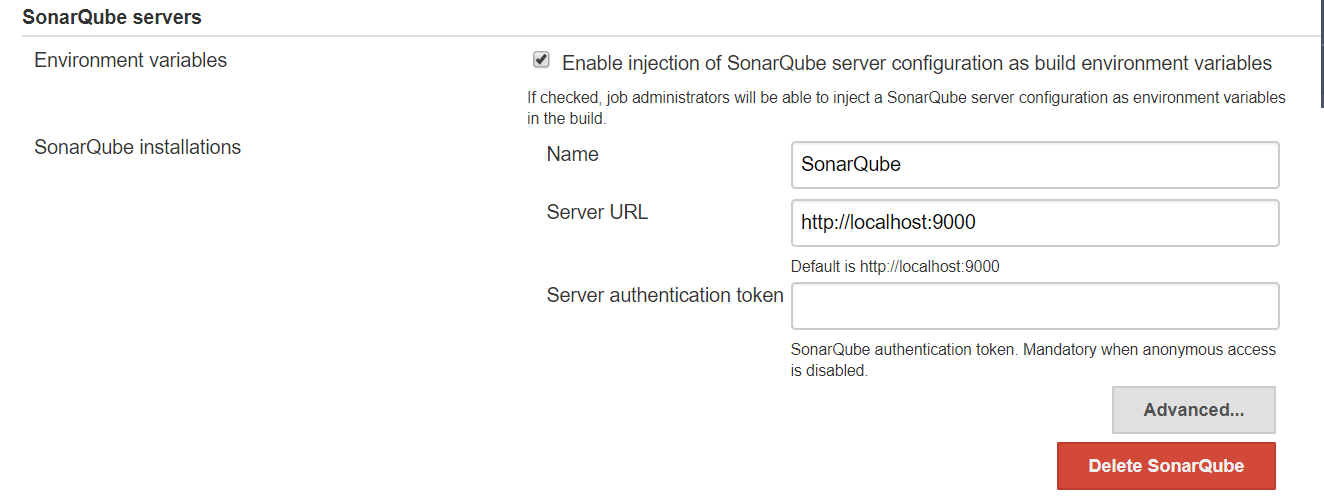 SonarQube issue while creating Pipeline project  · Issue