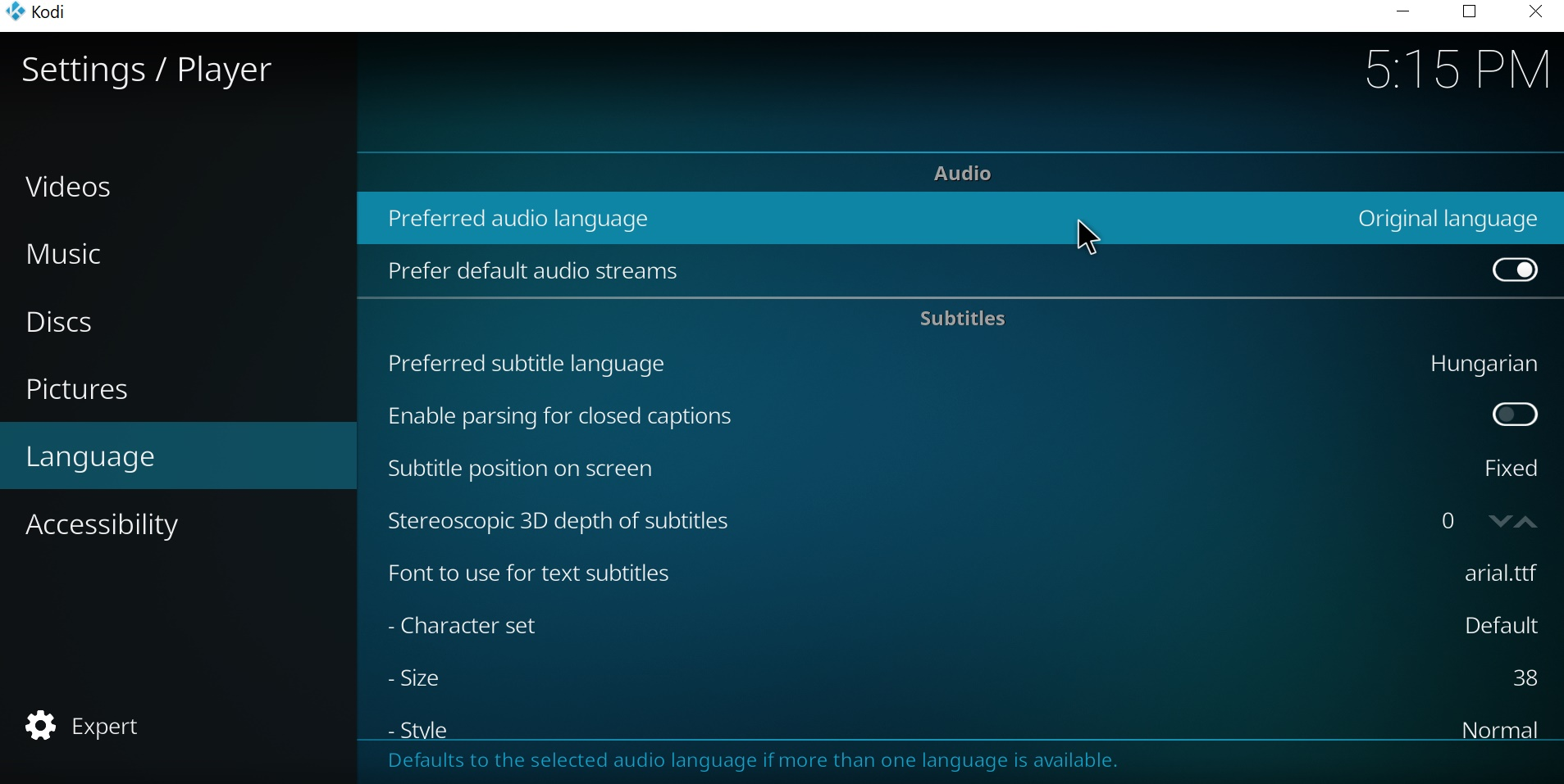 Changeable media language in addon settings · Issue #580