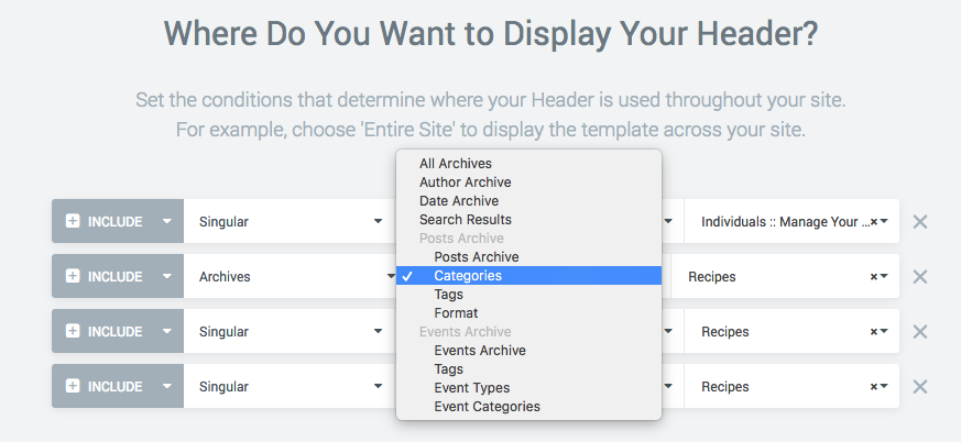 Feature Request] Custom post & taxonomy options for header