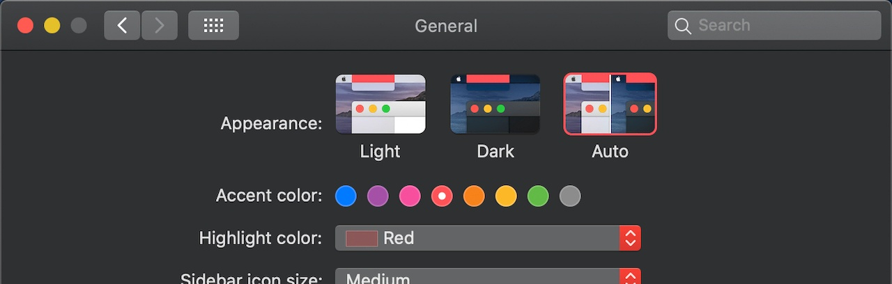 Dark mode setting in macOS Catalina