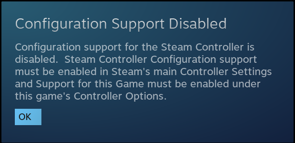 Configuration Support Disabled for Steam Controller · Issue