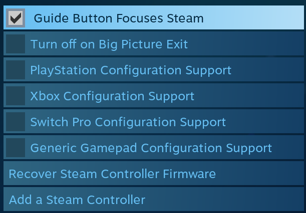 Configuration Support Disabled for Steam Controller · Issue #6294