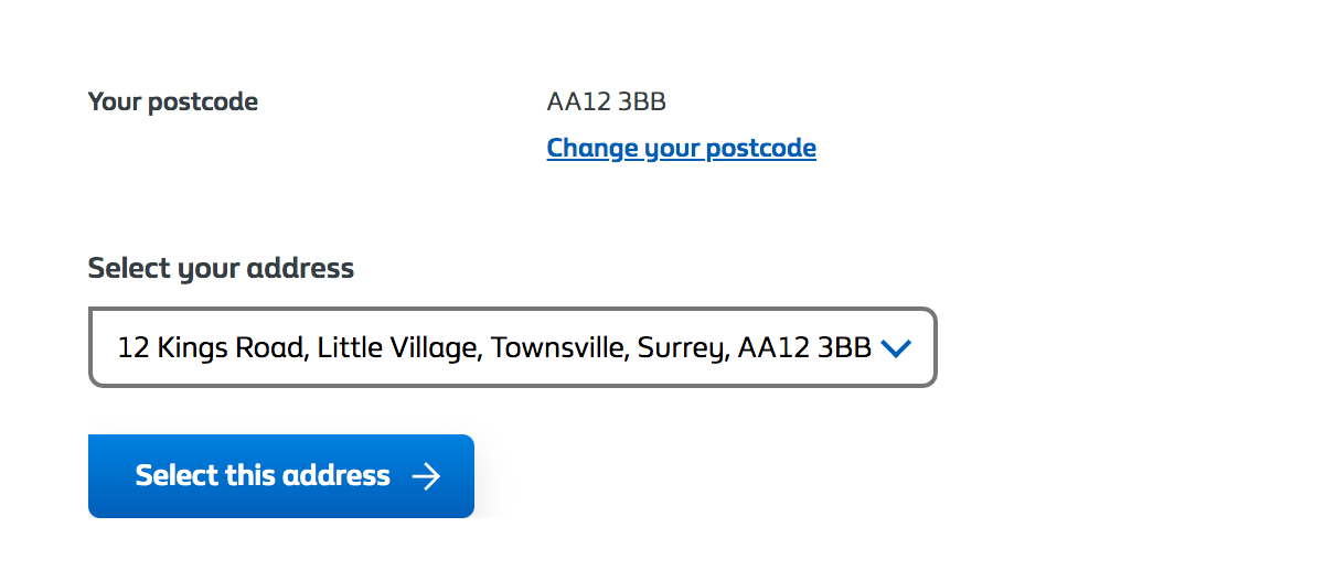 Many addresses - Customer selects using select drop-down