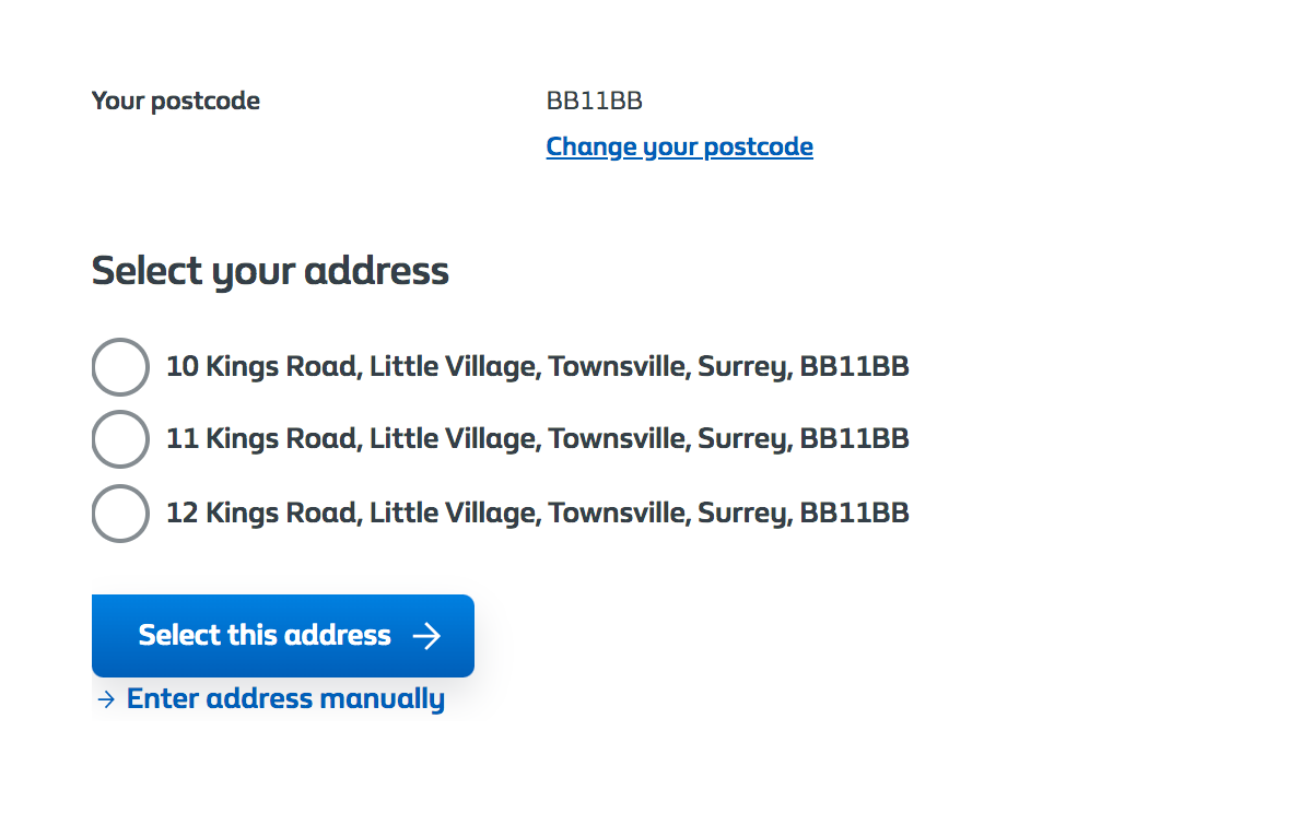 Multiple addresses - Customer selects using radio buttons