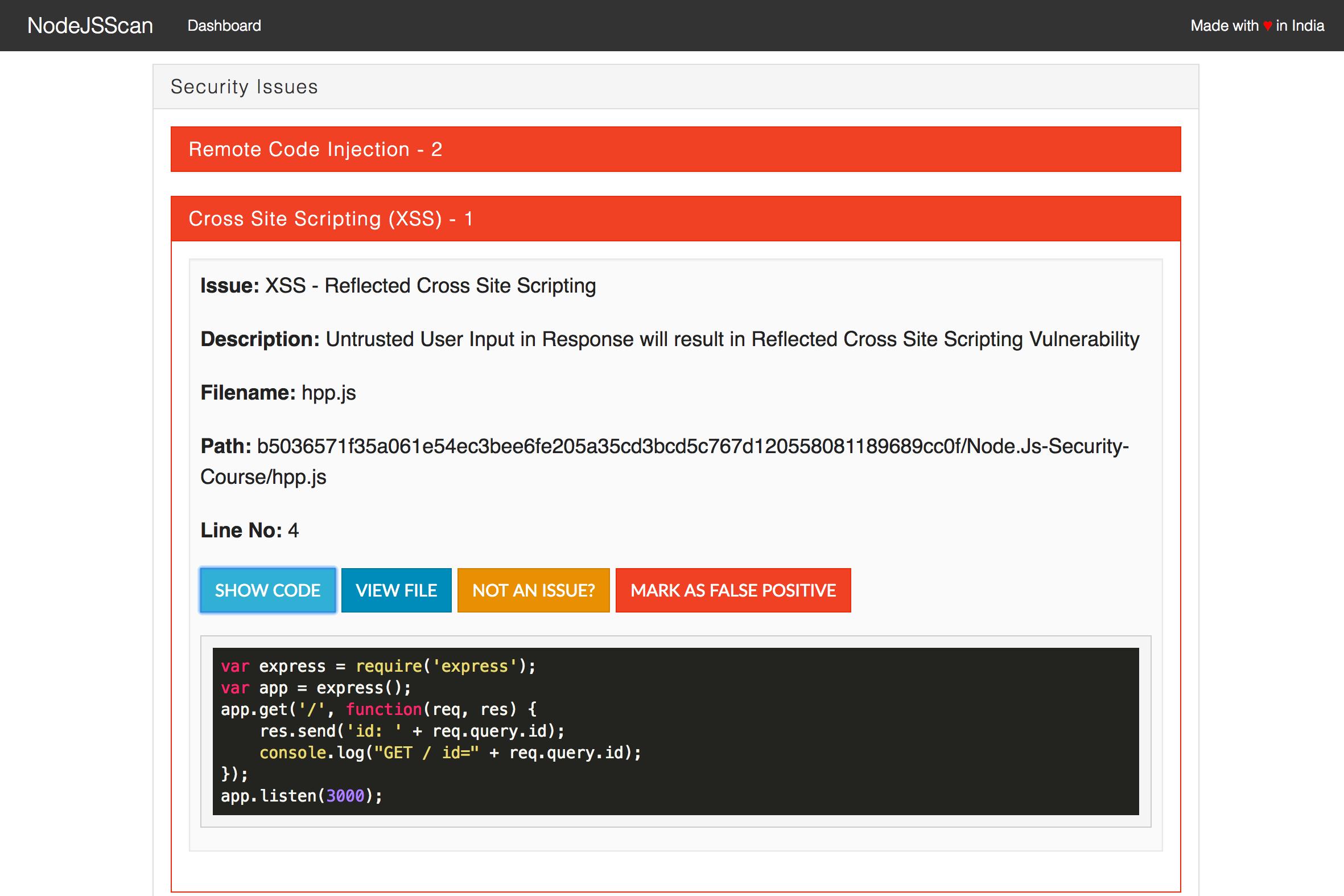 NodeJsScan Static Scan Vulnerability Details