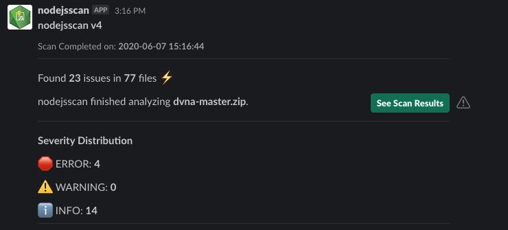 nodejsscan slack alert