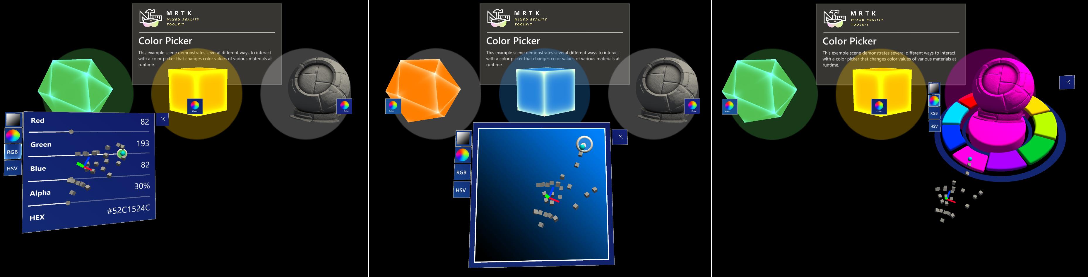 Trois méthodes différentes de contrôle de sélecteur de couleurs