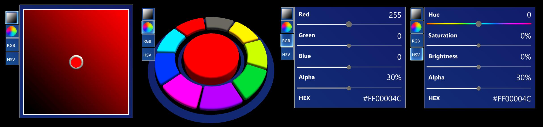 Quatre méthodes différentes de contrôle de sélecteur de couleurs