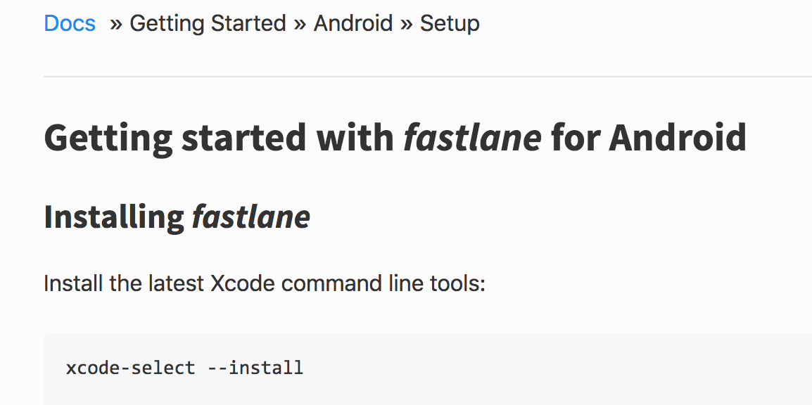 Documentation: Android setup documentation should not require Xcode