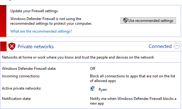 Check Windows Firewall Status Notification Disable